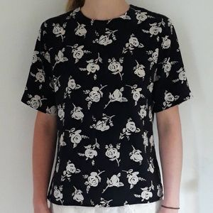 Black silky shirt with cream roses